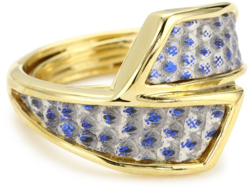 KARA by Kara Ross Metallic Blue Lizard Adjustable Wrap Ring