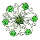 Brooches Store Silver & Peridot Swarovski Crystal Spiral Flower Brooch