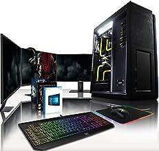 "VIBOX Legend HyperFreeze Pacchetto 20 - Elite Gaming PC, Desktop Computer (Intel i7 5930k @ 4.5GHz 6-Core Processore, Sistema di raffreddamento Loop Liquid Water Cooling personalizzata, 2 x 4GB Nvidia Geforce GTX 980 (SLI) Scheda Grafica, X99S SLI Plus, 500GB Samsung EVO 840 SSD, 3TB Hard-Disk, 32GB Predator 2800Mhz DDR4 RAM, RM1000 PSU, 3 x ASUS 27"" 4K Monitor, Razer BlackWidow Chroma Tastiera, DeathAdder Chroma Mouse, Firefly Tappetino, Kraken 7.1 Chroma Cuffia, Windows 10)"