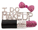 "Ladies Iced Out Black with Fuchsia ""I Do Makeup"" Style Brooch & Pin Pendant"