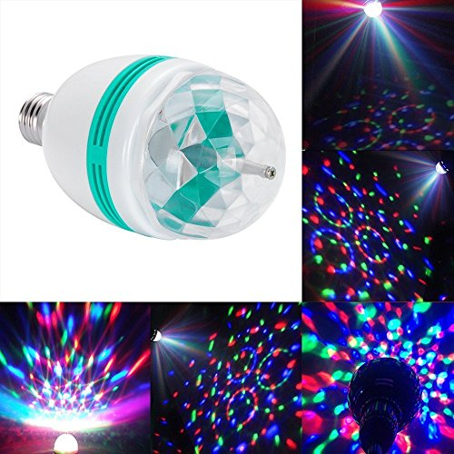 DLLL 3W Crystal Ball Magic RGB Automatic Rotating LED Stage Effect Wall Ceiling Light E27 Bulb for Home Party Disco DJ Bar Club KTV (Dj Lights Bulbs compare prices)