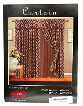Princess Collection - Burgandy Curtain - 2pcs Drape Set