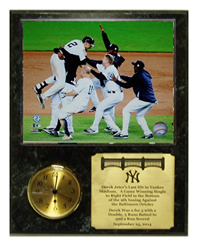 Derek Jeters Celebrates Last Final Career Hit At Yankee Stadium Clock Plaque front-438162