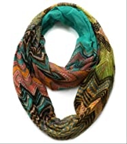 Plum Feathers Lightweight Chevron Striped Infinity Scarf (Turquoise)
