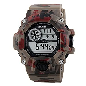 Water-resistance and Shockproof Watches Casual Men's Watches Students Boy Girl Sports Watch - Camouflage