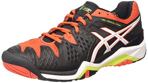 ASICS Gel-resolution 6 - Scarpe da Tennis Uomo, Nero (black/white/orange 9001), 41 1/2 EU