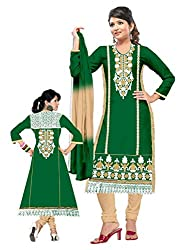 Pandadi Creation Woman's Untitched Beatifull Resham Chain Stich Embroidery Green Collor Suit Piece Dress Material.