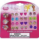Disney Princess Sticker Earrings & Ring Set - 3 rings & 24 sticker earrings,(Disney)