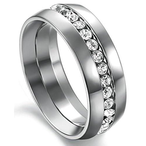 (キチシュウ)Aooazジュエリー カップルステンレスリング指輪 メンズ エレガントデザイン 約束指輪 CZダイヤモンド入り シルバー  高品質のアクセサリー 日本サイズ9号(USサイズ5号)