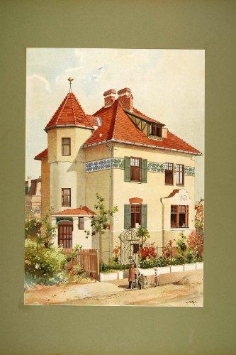 1903 Chromolithograph Villa Vienna Floor Plan Elevation - Original Chromolithograph