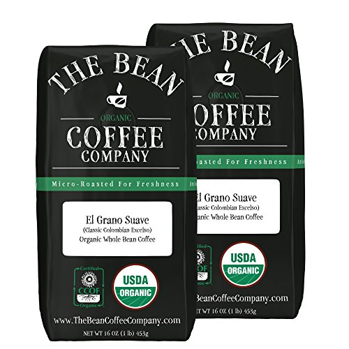 The Bean Coffee Company El Grano Suave Coffee (Classic Columbian Excelso), Organic Whole Bean, 16-Ounce Bags (Pack of 2) (Green Coffee Beans Columbian compare prices)
