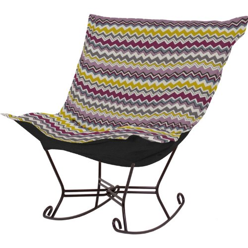 Howard Elliott 655-207 Bolt Scroll Puff Rocker With Mahogany Frame, Eggplant front-903840