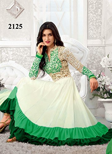 Fabboom New Heavy Kriti Sanon White & Green Long Length Traditional Anarkali Suits (FBA172-2125)