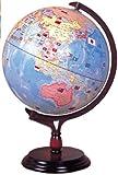 国旗付 地球儀 30cm (木製台座)