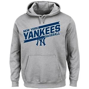 MLB Mens Back The Field Fleece Hooded Sweater Steel Heather by Majestic