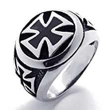 buy Anazoz Stainless Steel Iron Cross Bands Silvery Black Retro Men'S Rings Size 10 Fashion Jewelry