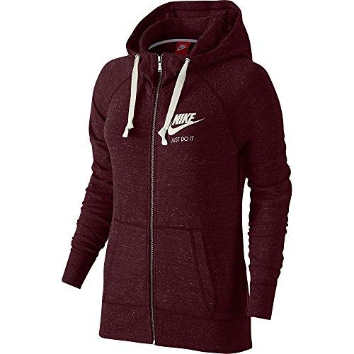 Nike Gym Vintage Full-Zip Women's Hoodie Night Maroon/Sail 726057-681 (Size XL)