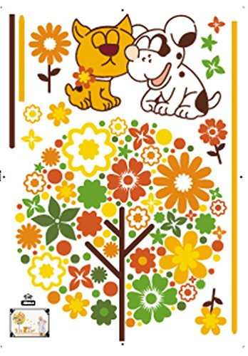 Damara Flower Tree Cute Dogs Wall Stickers Children Room Home Decor