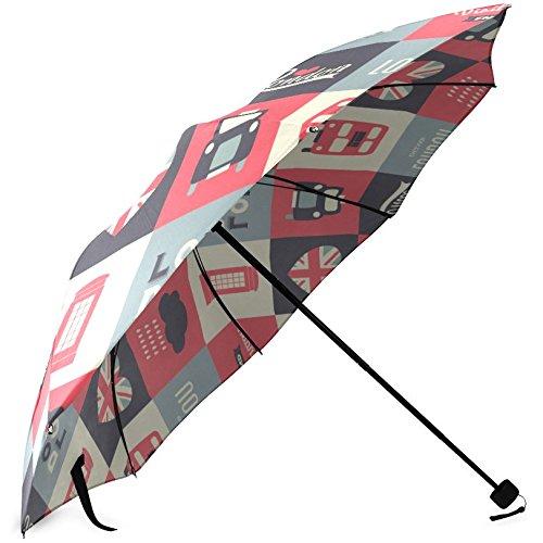 InterestPrint Stylish Retro Vintage Union Jack British Flag Fold Travel Umbrella 2