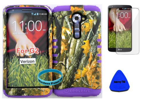 Wireless Fones Tm High Impact Hybrid Rocker Case For Lg G2 Vs980(Verizon Only) Hard Mossy Camouflage Two Oak Design On Purple Silicone With Screen Protector, Isavvy Pry Tool & Wrist Band