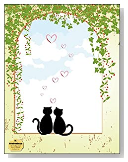 Sweetheart Cats Notebook - A sweet design for the cat lover! Two sweetheart cat silhouettes sitting in an open window draped with ivy create an engaging cover design for this blank and college ruled notebook with blank pages on the left and lined pages on the right.