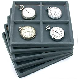 5 Gray 4 Slot 1/2 Size Jewelry Display Tray Inserts