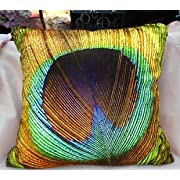 Fablegent XH6 Elegant Decorative Throw Pillow Cover - Peacock Feathers Design on Both Sides - Soft Velvet Fabric - Return Shipping Covered for Continental US Regions