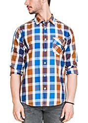 Zovi Cotton Slim Fit BlueWhite & Brown Checkered Casual Shirt(12032600901_XLarge)