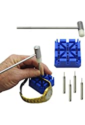 6 Piece Watch Band Link Remover Repair Tool Kit Set ~ 1 Hammer, 4 Punch Pins, and 1 Watch Band Holder
