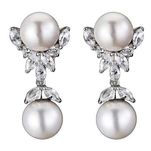 Cubic Zirconia and Sterling Silver Pearl Drop Earrings
