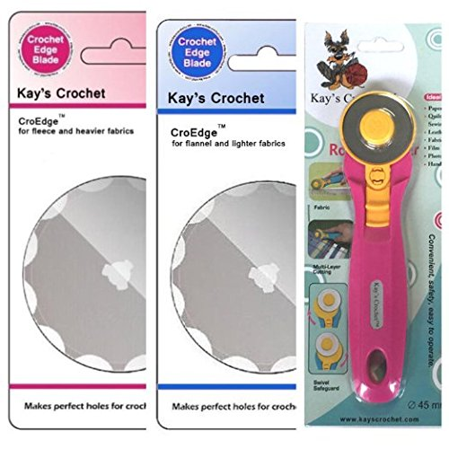 Kay's Crochet Edge Fleece and Flannel Blades with 45mm Rotary Cutter Makes Perfect Holes for Crochet Edge Projects (Edge Perfect compare prices)