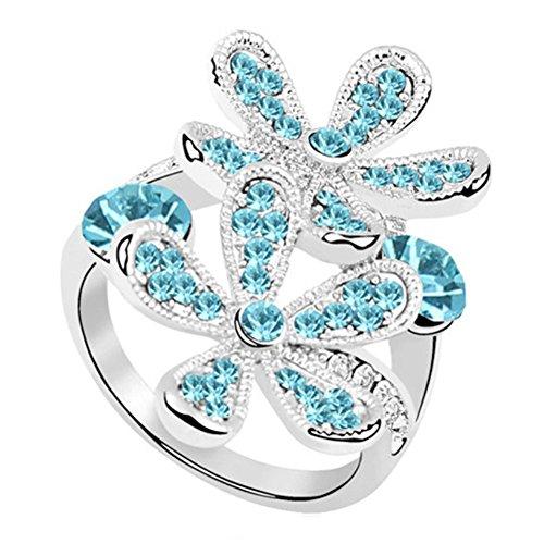 "RI96041C3-9 Fashionable ""Ice Flower"" Austrian Crystal Alloy Ring"