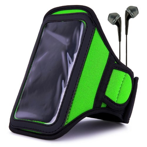 Vangoddy Armband - Lime Green Neoprene Sweat-Proof W/ Key & Id Card Pouch For Apple Ipod Touch 5 Retina Display + Black Handsfree Microphone Headphones
