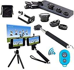 AFAITH® 6in1 Kit for Samsung Galaxy S5/S4/S3 iPhone 5S/5C/5/4S Samsung Galaxy Note 3/2 LG G3/G2 HTC One M8/M7 Google Nexus 4/5 Sony Xperia Z1/Z2 Motorala Moto X/G OnePlus One+ A0001 Cell Phone, Wireless Bluetooth Remote Camera Shutter Release Control + E