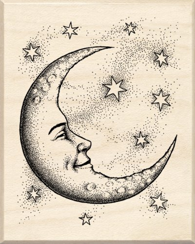 Inkadinkado Mounted Rubber Stamp   -Crescent Moon 2.5