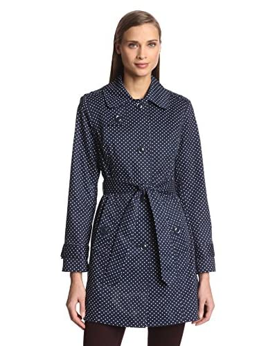 London Fog Women's Single-Breasted Dot Print Trench