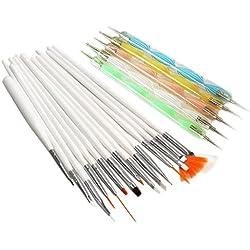 Vktech 20pcs Nail Art Design Set Dotting Painting Drawing Polish Brush Pen Tools (20pcs)