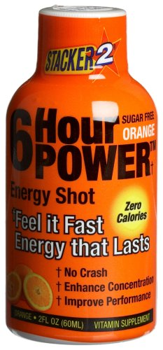 Stacker 6 Hour Power Energy Shot – Orange, 2-Ounce Bottles (Pack of 12)