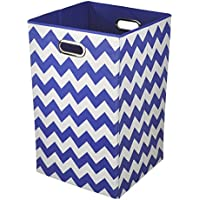 Modern Littles Folding Laundry Basket (Bold Blue Chevron)