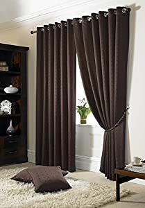 """Jacquard Check Brown 66x90"""" 168x229cm Lined Ring Top Eyelet Curtains Drapes by Curtains"""