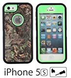 iCustomized (TM) Black and Green Rugged Heavy Duty Hard Dual Layer Weather and Water Resistant Case with Camouflage Woods Design for the Apple iPhone 5S and 5 (AT&T, Verizon, Sprint), Black Audio Jack Dust Plug