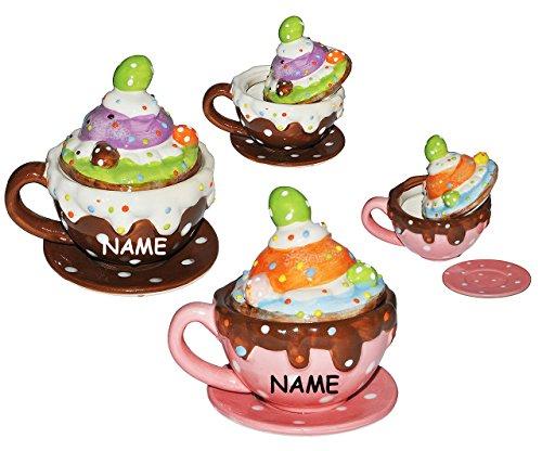 2 Set´s _ Henkeltasse mit Deckel + Untertasse incl. Namen - Törtchen - Cappuccino Punkte gepunktet - aus Porzellan / Keramik - Trinktasse mit Henkel Tasse Becher Porzellantasse