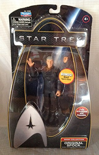 Star Trek Warp Collection Spock with Silver Starfleet Emblem Figure Stand - 1