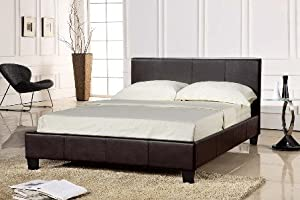"""4FT 6"""" Double Faux Leather Bed Frame in Black Prado from Humza Amani"""