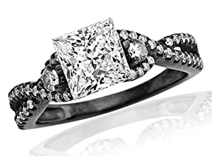 2.48 Carat Princess Cut Black Diamond Twisting Split Shank 3 Stone Diamond Engagement Ring (I-J Color, VS1 Clarity)