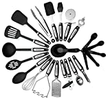 Kitchen Utensils Sets 26 Pieces - Stainless Steel And Nylon Cooking Tools Spoons, Turners, Tongs, Spatulas, Pizza Cutter, Whisk Measuring Cups & Spoons And More - By Kitch N' Wares