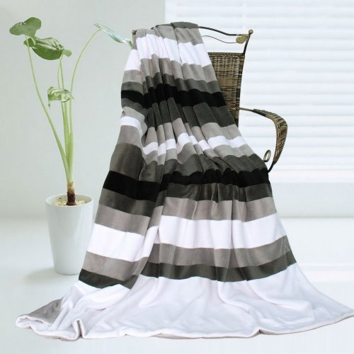 Onitiva - [Stripes - Simplicity] Soft Coral Fleece Patchwork Throw Blanket (59 By 78.7 Inches) front-383261