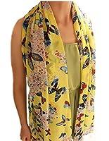 Demarkt Stylish Various Pattern Scarf Shawl Women Chiffon Wrap Scarves(Yellow Butterfly)