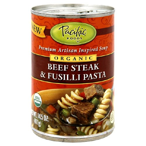 Buy Pacific Natural Foods Organic Beef Steak & Fusilli Pasta Soup, 14.5 Ounce Tins (Pack of 12)