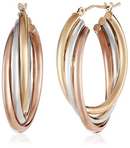 14k-Gold-Bonded-Sterling-Silver-Tri-Color-Hoop-Earrings